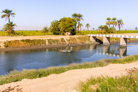 Nile, Egypt - January 14, 2015: Fisherman on the channel of the Nile river.