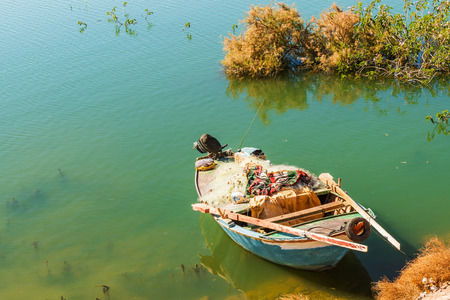 abu simbel: Fishing boats on the river Nile in Abu Simbel in Egypt. Stock Photo