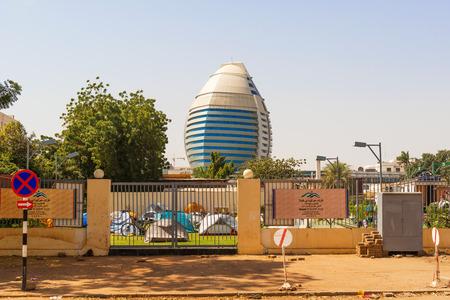 holiday villa: Khartoum, Sudan - January 309, 2015: View at the Burj Al-Fateh hotel in Khartoum and the campground in Holiday Villa hotel.
