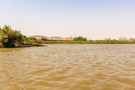 white nile: Place on the river Nile where White and Blue Nile meet  together Stock Photo