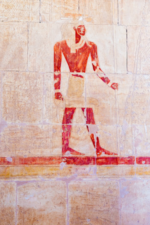 mortuary: Ancient painting at the Mortuary Temple of Hatshepsut, Deir el-Bahri,  Luxor in  Egypt.