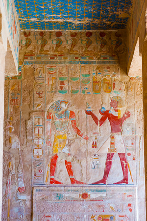Ancient painting at the Mortuary Temple of Hatshepsut, Deir el-Bahri,  Luxor in  Egypt.
