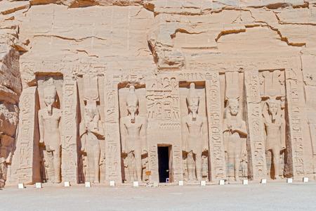 abu simbel: The Temple of Hathor and Nefertari called the Small Temple in  Abu Simbel. Egypt.