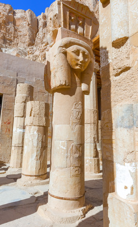 thebes: This impressive stone statue shows the female Queen Hatshepsut