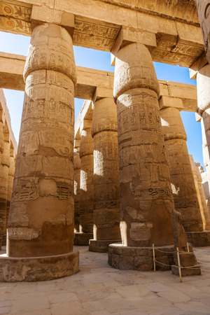 thebes: Pillars of the Great Hypostyle Hall of the Karnak temple, Luxor, Egypt (Ancient Thebes with its Necropolis).