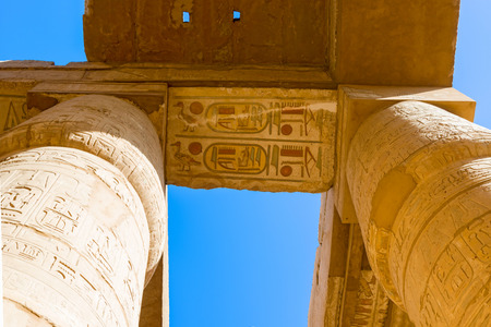 thebes: Pillars of the Karnak temple, Luxor, Egypt (Ancient Thebes with its Necropolis).