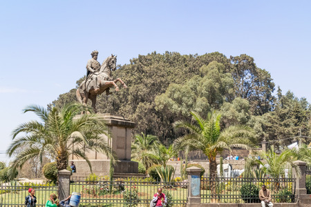 ethiopian ethnicity: Addis Ababa, Ethiopia - February 19, 2015:: Menelik II equestrian statue on February 19, 2015  in Addis Ababa, Ethiopia. Victory over the Italian invaders had earned Menelik II a great fame.