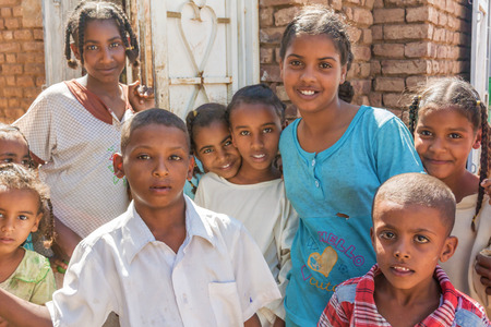Sennar, Sudan - February 1, 2015: Young children in front of the house in the village near Sennar in Sudan.