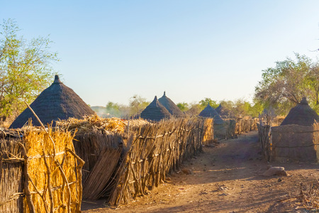 dwelling: View at the houses in a small village at the road from Rashid to Ban in Sudan Stock Photo