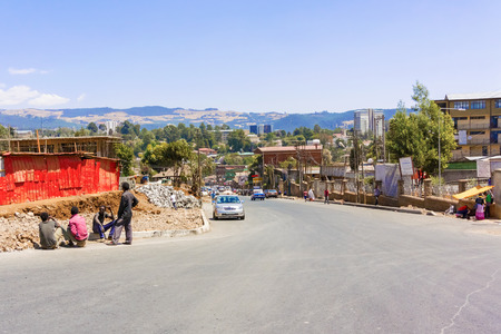 Addis Ababa, Ethiopia - February 19, 2015: People and businesses on a street in central Addis Ababa, the capital of Ethiopia and one of the largest cities in Africa Redakční