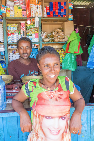 addis: Addis Zemen, Ethiopia - February 10, 2015: Close up picture of the couple running corner store. Picture was taken in Addis Zemen in Ethiopia.