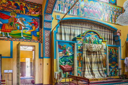 christian altar: Bahir Dar, Ethiopia - February 11, 2015: View at  the interior of  St. George church in Bahir Dar. Bahir Dar is one of the leading tourist destinations in Ethiopia, with a variety of attractions in the nearby Lake Tana and Blue Nile river.