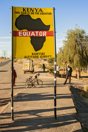 equator: Nanyuki, Kenya - March 6, 2015: View at the sign posted at equator in Nanyuki in Kenya.