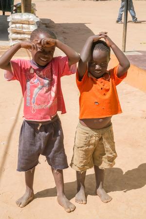 Kasungu, Malawi - March 27, 2015: Local children in small village near Kasungu in Malawi. Editorial