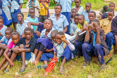 zambia: Chitizauwe, Zambia - April 1, 2015: Group of young boys and girls in a small village of Chitizauwe in Zambia