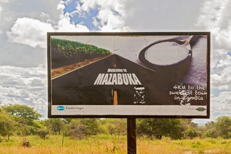 zambia: Mazabuka, Zambia - April 5, 2015: Welcome sign to the city of Mazabuka in Zambia.