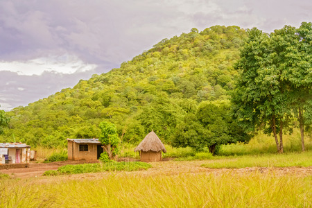 View at the houses and  the rural landscape in Zambia