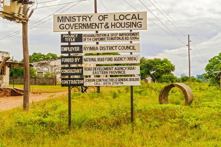 zambia: Nyimba, Zambia - March 31, 2015: The  road sign in Nyimba,  in Zambia