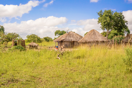 zambia: View at the picturesque rural landscape and houses in Zambia