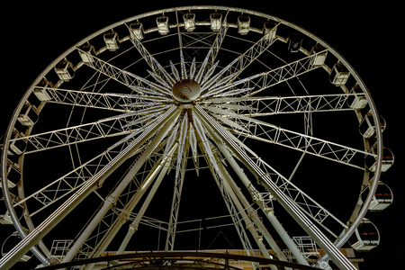 recreational pursuits: Night view at the Wheel of Excellence in Cape Town. It was  South Africas first observation wheel with 36 cabins and a famous tourist attraction.