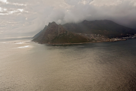 table mountain national park: Chapmans Peak Drive. View to Hout bay and Hout town. Table Mountain National Park, Cape town.