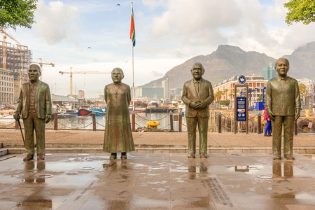 nobel: Nobel Square with the four statues commemorating - in order from left -  the late Chief Albert Luthuli, Archbishop Desmond Tutu, and former presidents FW de Klerk and Nelson Mandela