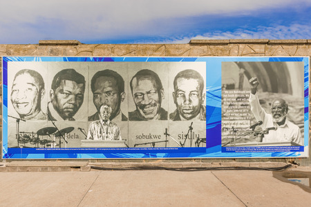 Cape Town, South Africa - May 14, 2015: Banner on Robben Island Prison wall where Nelson Mandela was imprisoned, now a museum, Cape Town, South Africa