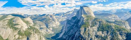 half dome: Panorama of the Yosemite valley with Half Dome, California, USA.