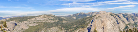 half dome: Panorama of the landscape as viewed from the Half Dome in Yosemite National Park in California, USA.