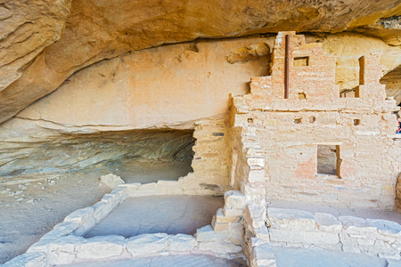 the dwelling: A view of a cliff dwelling at Mesa Verde National Park