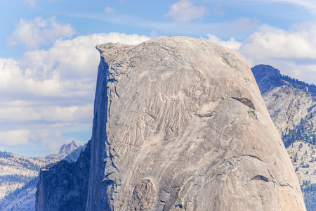 sierra nevada mountain range: View at the famous Half Dome in Yosemite National Park, California, USA