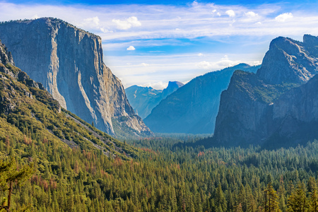 half dome: Panoramic view at Yosemite valley with  El Capitan, Half Dome and Cathedral Rocks in Calfornia, USA Stock Photo