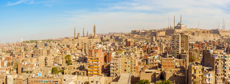 Panoramic view at the houses and mosques in Cairo, Egypt Imagens