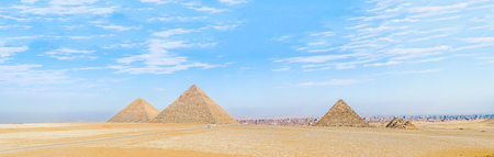 unesco culture heritage: Landscape view at the  Pyramids of Giza and city of Cairo at the background