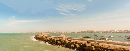 mediterranean countries: Panorama of the Bay of Alexandria, Egypt.