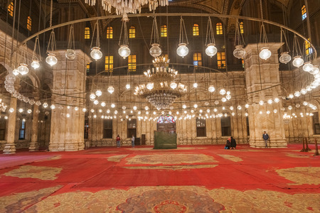 Interior of the Muhamad Ali mosque in Cairo, Egypt