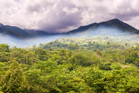 mountainscape: Clouds dropping over mountains of Cordillera Central and Santa Fe National Park; north of Santa Fe, Panama Stock Photo