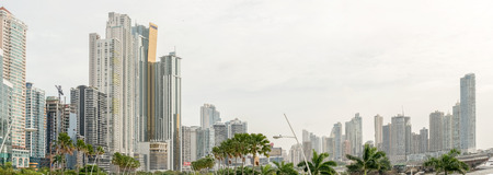 Panama city, Panama - December 14, 2015: Landscape view at skyline of skyscrapers in Panama City, Panama, Central America.