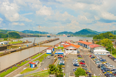 Ship entering Miraflores locks in Panama canal