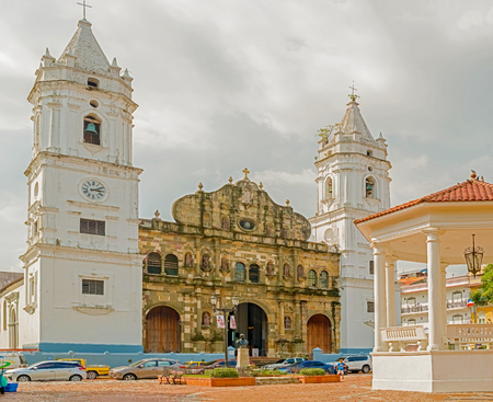 Panama city, Panama - November 23, 2015: Panama City Metropolitan Cathedral at the Casco Viejo Plaza Catedral in Panama city, Panama