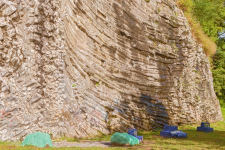 There is a climbing Climbing rock near Boquete. rock where tourists can climb Stock Photo