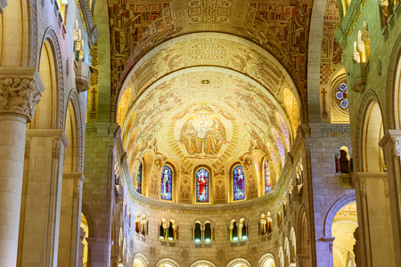 credited: Interior of  Basilica of Sainte Anne de Beaupre is  basilica set along Saint Lawrence River in Quebec. It has been credited by  Catholic Church with many miracles of curing the sick and disabled.
