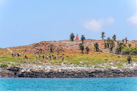 galapagos: Santa Fe, Galapagos, Ecuador - April 9, 2016: Tourists entering the cactus forest at Galapagos island of Santa Fe.