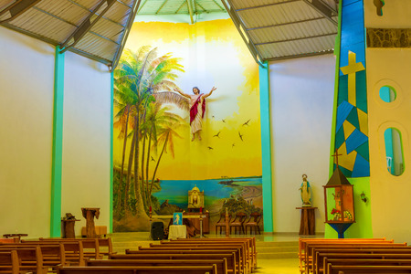 house of worship: Interior of the Christ Saviour parish church on Isabela island in in Puerto Villamil,  Galapagos, Ecuador.