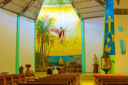 parish: Interior of the Christ Saviour parish church on Isabela island in in Puerto Villamil,  Galapagos, Ecuador.