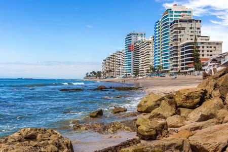 Salinas, Ecuador - April13, 2016: Modern condominium buildings facing the beach  in Salinas, Ecuador.