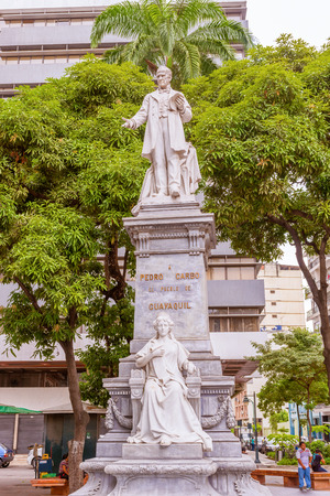 guayaquil: Guayaquil, Ecuador - April 16, 2016:  Plaza Pedro Carbo, with his monument in the city of Guayaquil in Ecuador Editorial