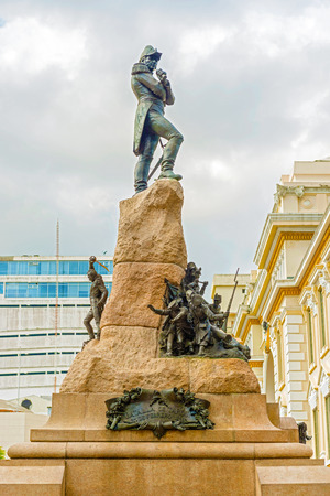 generals: Guayaquil, Ecuador: April 17, 2016: This is the monument to Antonio Jose de Sucre y Alcala in Guayaquil in Ecuador. He was a Venezuelan independence leader. Sucre was one of Simon Bolivar closest friends, generals and statesmen.
