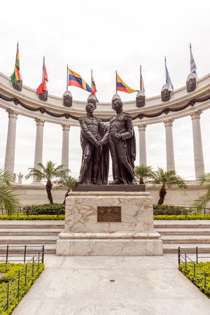 Guayaquil, Ecuador - April 15, 2016: Statue monument la rotunda. This monument celebrates the mysterious meeting that took place between two Latin American liberators on this very spot. The two men, Malecon Simon Bolivar and Jose de San Martin, met on the