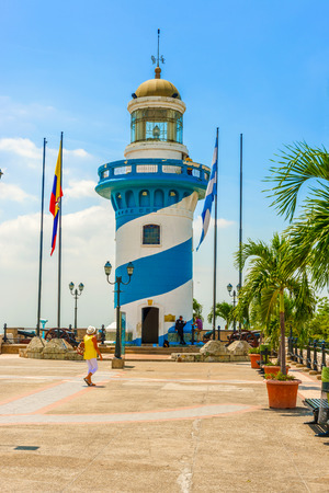 guayaquil: Guayaquil, Ecuador - April 16, 2016: Lighthouse on the trop of Santa Ana hill in Guayaquil in Ecuador. Editorial